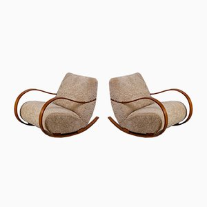 Swedish Sheepskin Rocking Chairs, 1950s, Set of 2