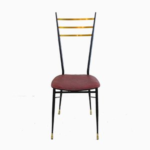 Dining Chair With Iron Structure & Brass Tips and Backrest, 1950s