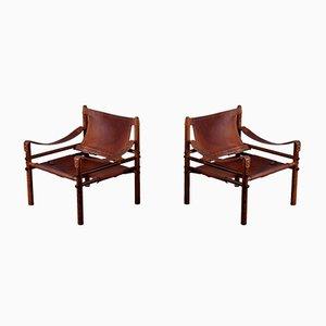 Vintage Sirocco Safari Stühle von Arne Norell für Arne Norell AB, 1960er, 2er Set