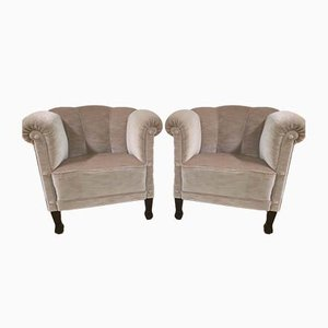 Mohair Velvet Club Chairs from De Coene, 1930s, Set of 2