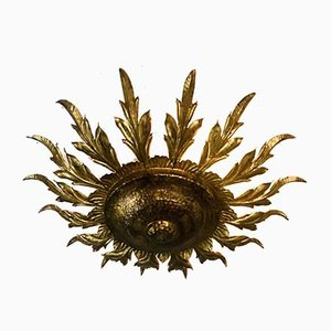 Mid-Century Spanish Sunburst Ceiling Light Fixture or Wall Sconce in Wrought Gilt Iron, 1960s