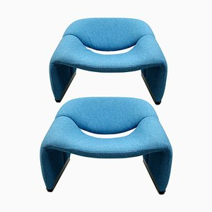 Vintage F598 Groovy Lounge Chairs in Blue Fabric by Pierre Paulin for Artifort, Set of 2