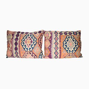 Organic Wool Outdoor Turkish Old Kilim Cushion Covers, Set of 2