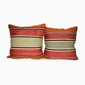 Striped Simple and Plain Turkish Kilim Cushion Cover