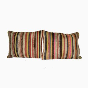 Striped Turkish Lumbar Kilim Cushion Covers, Set of 2