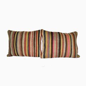 Striped Turkish Lumbar Kilim Cushion Covers, Set of 2