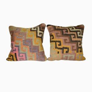 Couvercles de Coussins Kilim Géométriques Aztèques, Turquie, Set de 2
