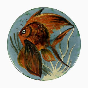 Ceramic Wall Plate with Fish Decor by Puigdemont