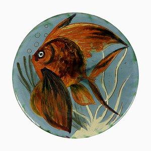 Piatto da parete in ceramica con decorazioni a forma di pesce di Puigdemont