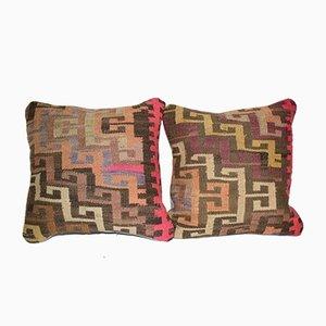 Turkish Kilim Handmade Cushion Covers, Set of 2