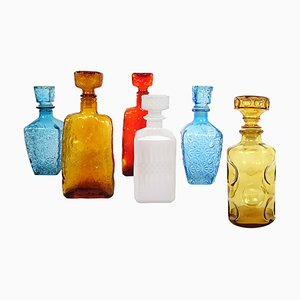 Mid-Century Modern Glass Decanters from Empoli, Set of 6