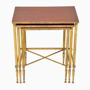 Vintage Brass & Mahogany Nesting Tables, 1950s, Set of 3