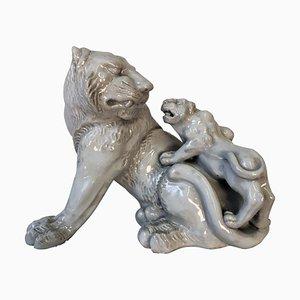 Escultura de tigre, porcelana