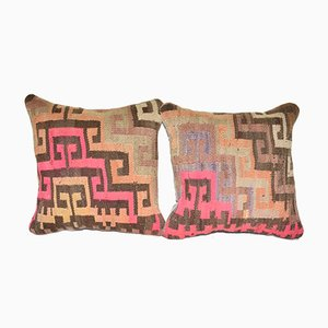 Organic Wool Outdoor Turkish Kilim Cushion Covers, Set of 2