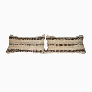 Vintage Turkish Hemp Kilim Cushion Covers, Set of 2