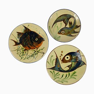 Mid-Century Ceramic Wall Plates with Fish Decor by Puigdemont, Set of 3
