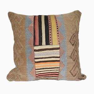 Multicolored Wool Patchwork Kilim Cushion Cover