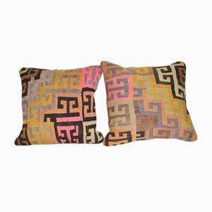 Antique Turkish Kilim Cushion Covers, Set of 2