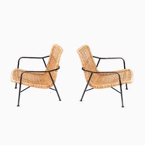 Swedish Rattan Lounge Chairs, 1960s, Set of 2