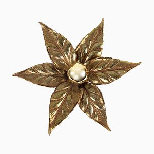 Brass Flower-Shaped Sconce by Willy Daro, 1970s