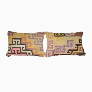 Vintage Hand-Woven Kilim Lumbar Cushion Covers, Set of 2