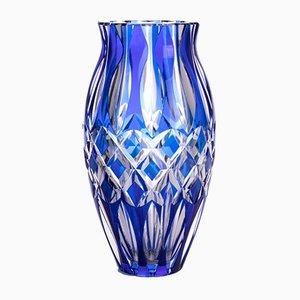 Mid-Century Blue Cut-Glass Vase by Val Saint Lambert, 1950s