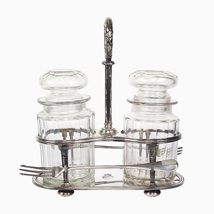 Antique Dutch Silver Plate and Crystal Pickle Set from Royal Dutch Lloyd, Set of 5