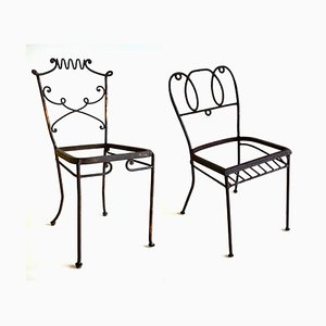 Wrought Iron Garden Chairs from Casa e Giardino, 1950s, Set of 2