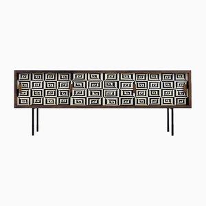 Langes italienisches Birkenholz Sideboard mit Op-Art Handbemaltem Muster, 1960er