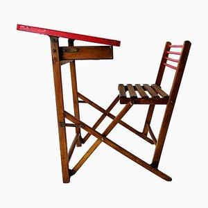 Escritorio y asiento infantil plegable vintage de madera