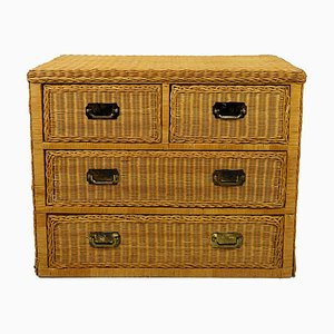 Mid-Century Rattan Low Chest of Drawers with Brass Handles