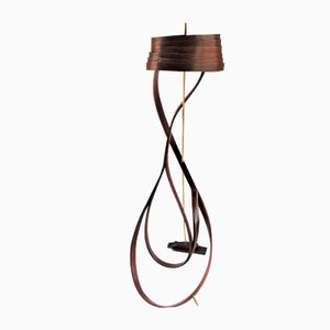 Brown Bentwood Floor Lamp with Brass Detail by Raka Studio
