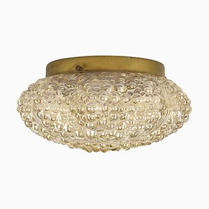 Mid-Century Glass and Brass Ceiling Lamp in the style of Helena Tynell
