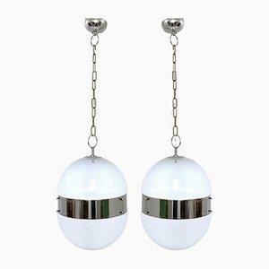 Chrome and Glass Oval Italian Pendant Lights, 1970s, Set of 2