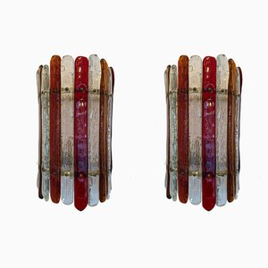 Italian Murano Glass and Brass Sconces from Venini, 1970s, Set of 2