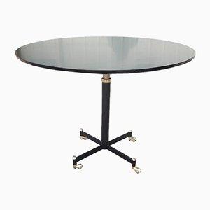 Runder Tisch aus Gebeiztem Holz, Eisen und Messing, 1960er