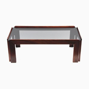 Rectangular Wood & Smoked Glass Coffee Table by Tobia & Afra Scarpa for Cassina, 1960s