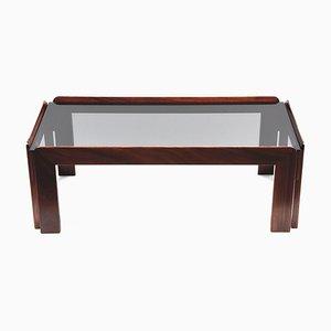 Tavolino da caffè rettangolare in legno e vetro fumé di Tobia & Afra Scarpa per Cassina, anni '60
