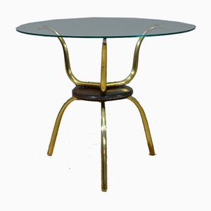Vintage Italian Glass and Brass Coffee Table, 1950s