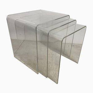 Tables Gigognes Vintage Space-Age en Lucite, 1970s, Set de 3