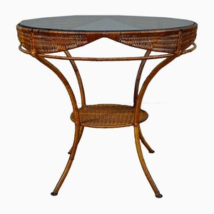Garden Table in Wicker, Metal and Glass, Italy, 1960s