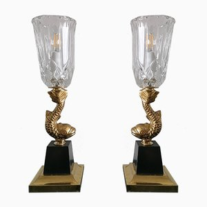 Vintage Hollywood Regency Chinoiserie Brass Koi Fish Lamps, 1960s, Set of 2