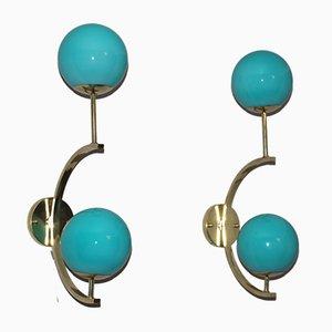 Italienische Mid-Century Modern Wandlampen aus Messing & Türkisblauem Glas, 1990er, 2er Set