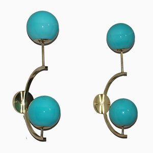Mid-Century Italian Modern Brass and Turquoise Blue Glass Sconces, 1990s, Set of 2