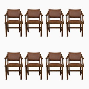 Antique Oak Dining Chairs, Set of 8