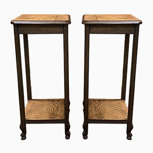 Louis XV Style Oak Side Tables, 1930s, Set of 2