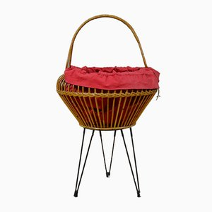 Wicker Sewing Basket with Metal Legs, 1960s