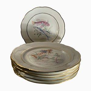 Vintage French Decorative Plates from Societé Francaise de Porcelaines, 1950s, Set of 6
