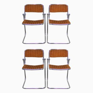 Chromed Metal Dining Chairs, 1960s, Set of 4