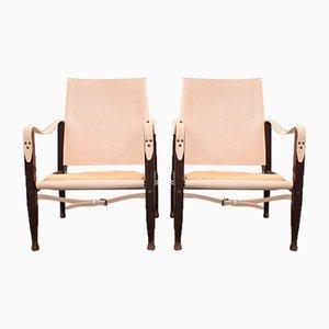 Dänische Leder Safari Stühle von Kaare Klint, 1960er, 2er Set